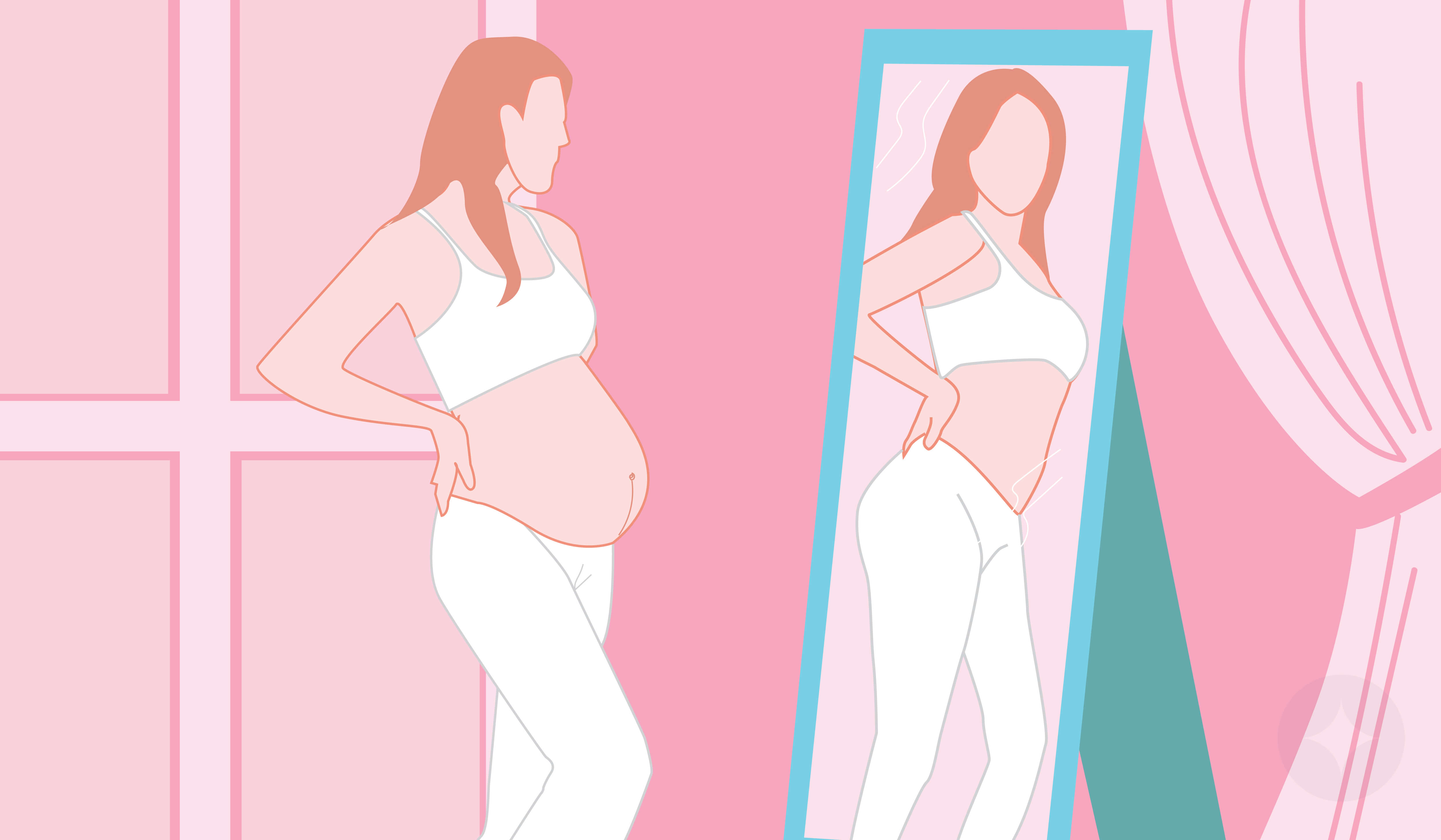 An illustration of a pregnant woman looking into the mirror checking her postpartum body in the mirror.