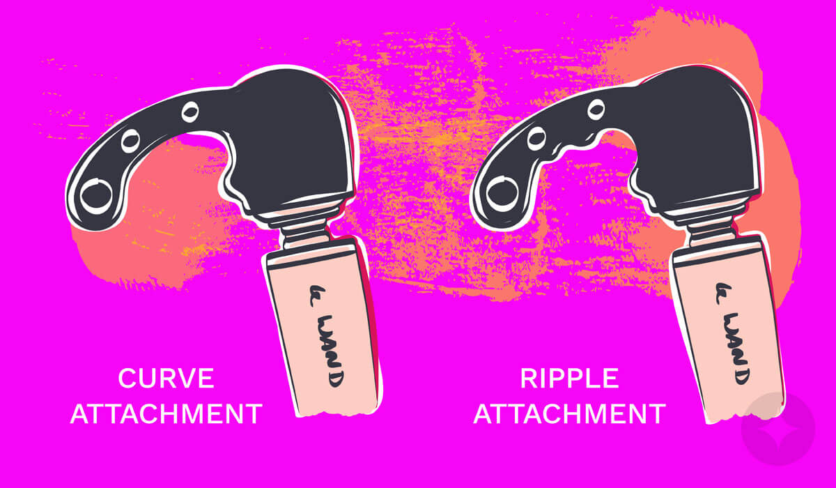 Attachments for Le Wand Massager for a blended orgasm - Curve and Ripple Attachment.