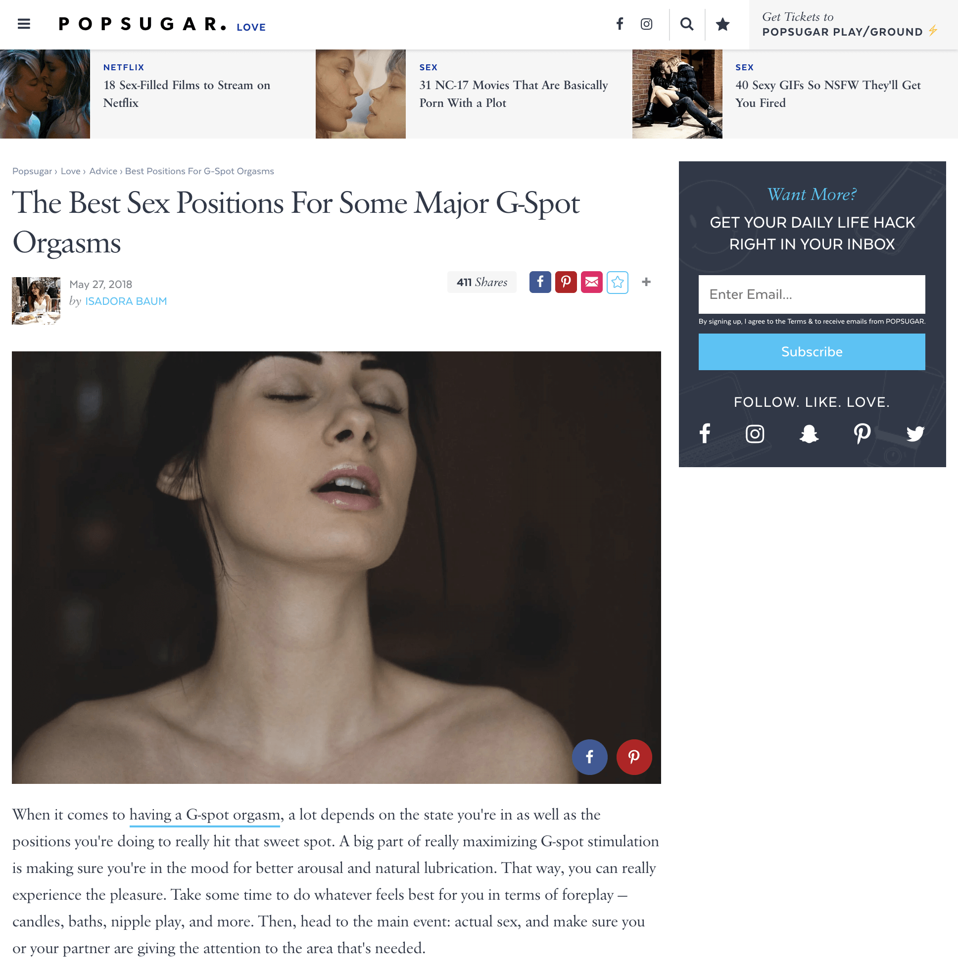 Sex expert Alicia Sinclair shares with Popsugar her top tips on having major G-spot orgasms.